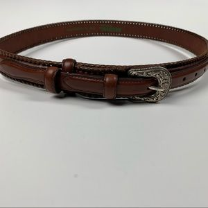 Vintage Western Style Silver Tone Brown Leather